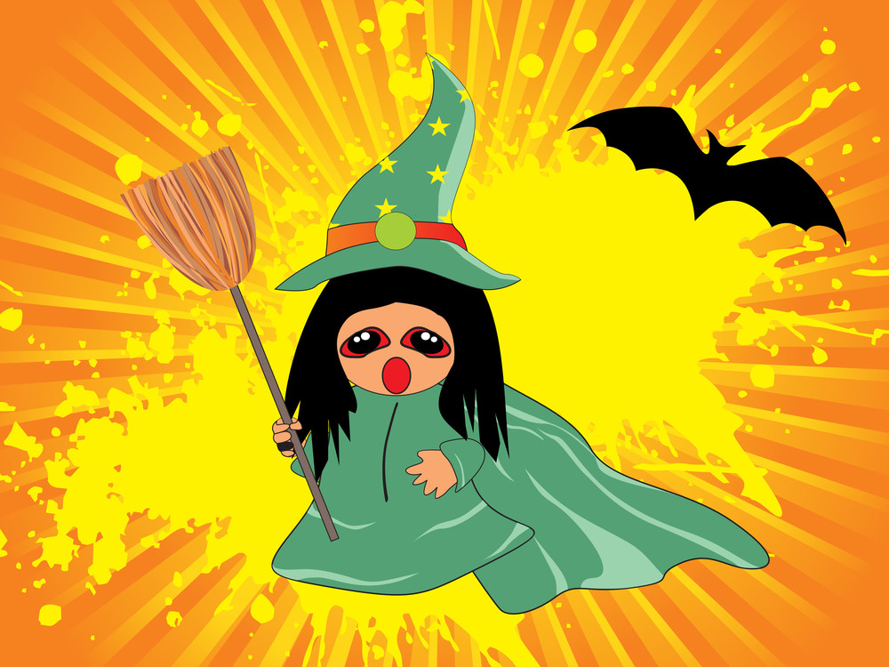 Grungy Background With Witch Holding Broom
