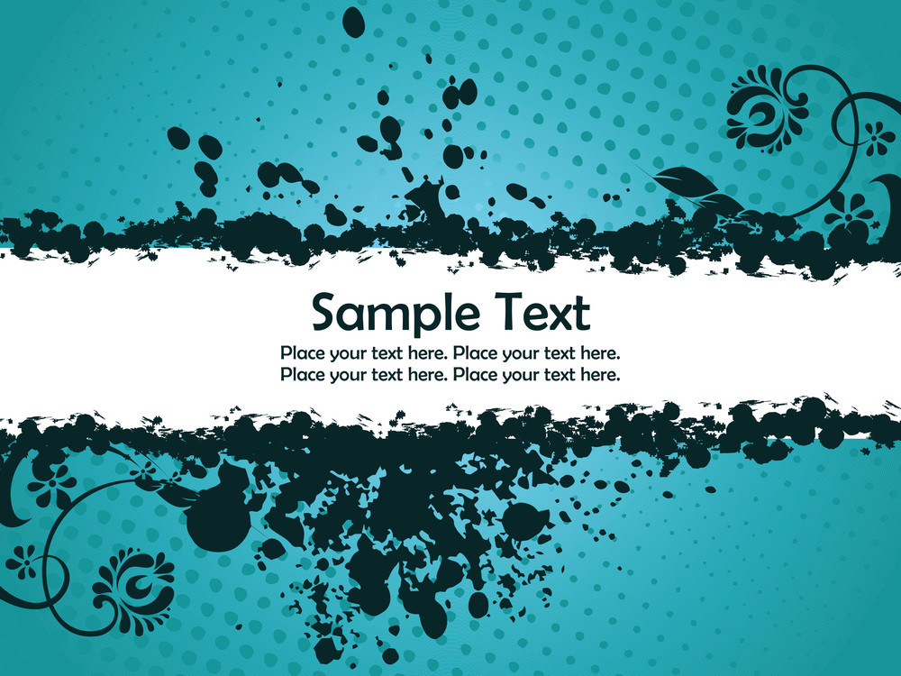 Grungy Banner With Dotted Seagreen Background