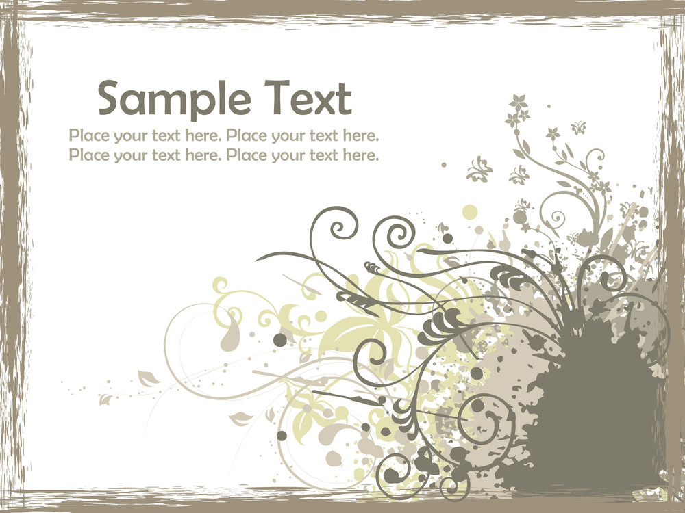 Grungy Border With Grungy Floral Design