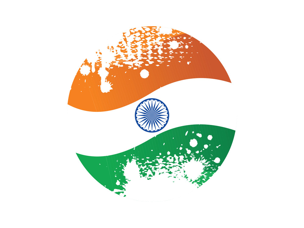 Grungy Button In Indian Flag Color