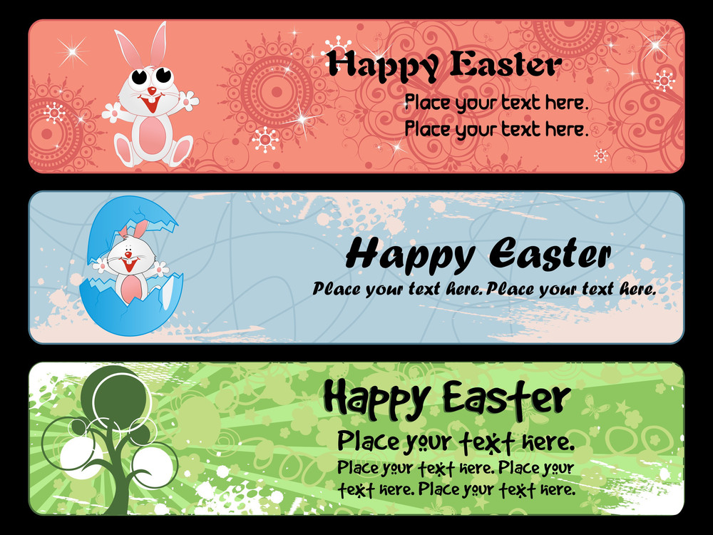 Grungy Easter Banner Illustration