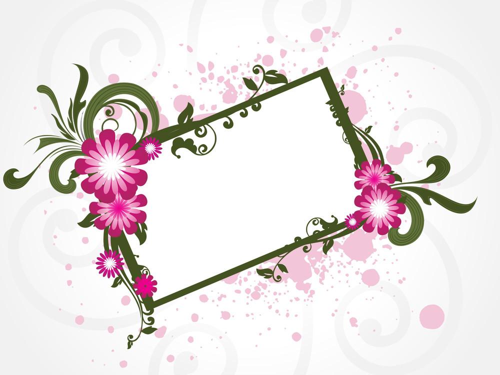 Grungy Floral Frame Illustration