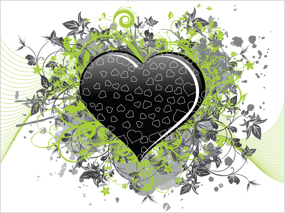 Grungy Floral Pattern Heart With Floral