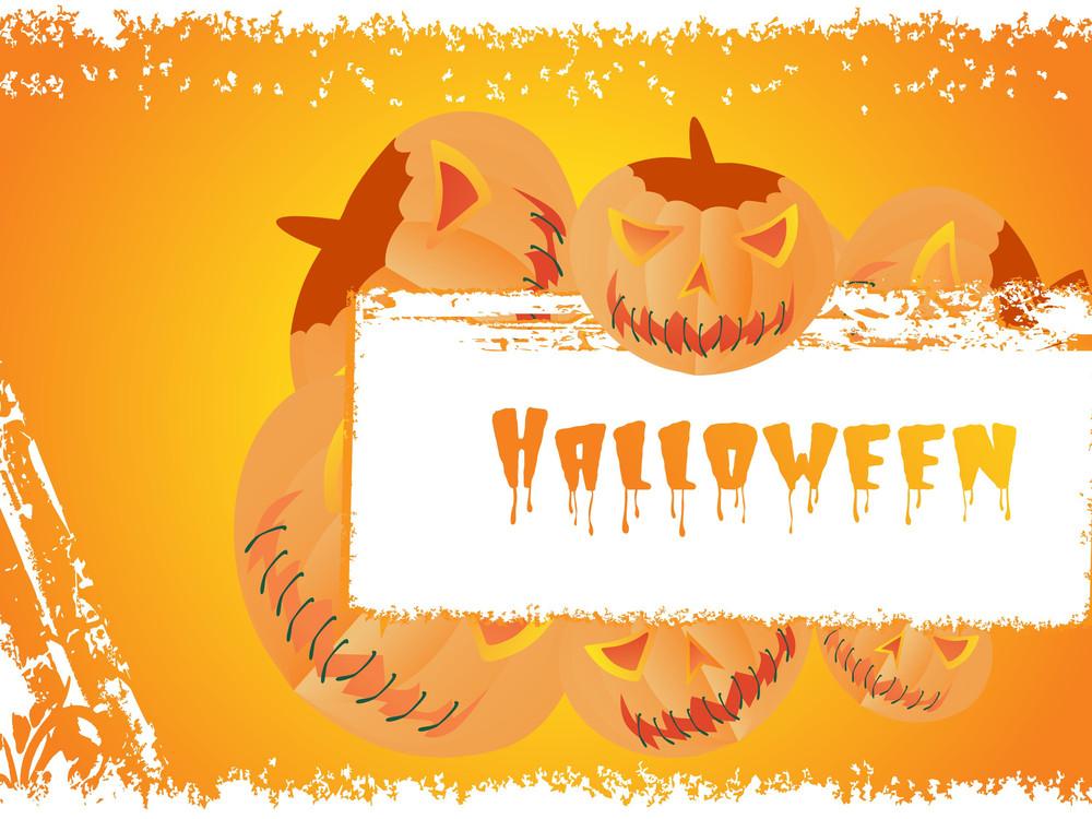 Grungy Halloween Background With Pumpkin