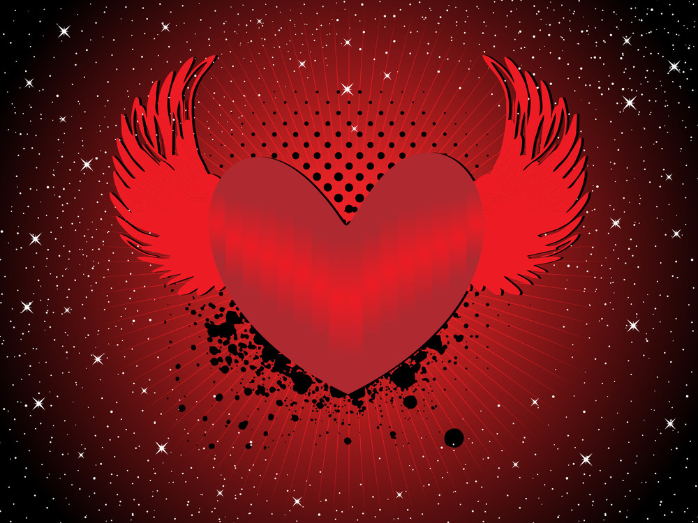 Grungy Heart With Wing