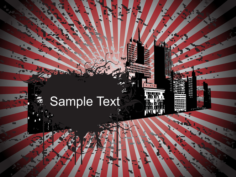 Grungy Modern City Background With Sample Text