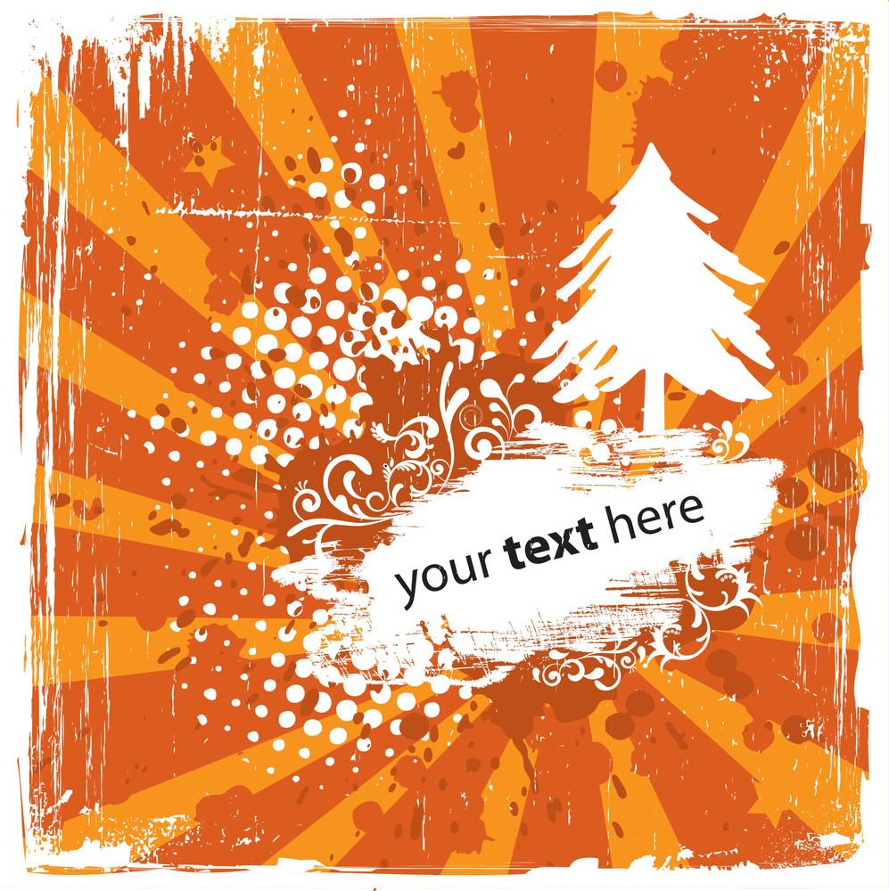 Grungy Orange Christmas Background