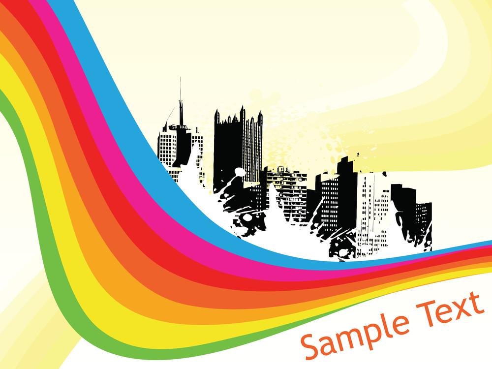 Grungy Rainbow City Illustration