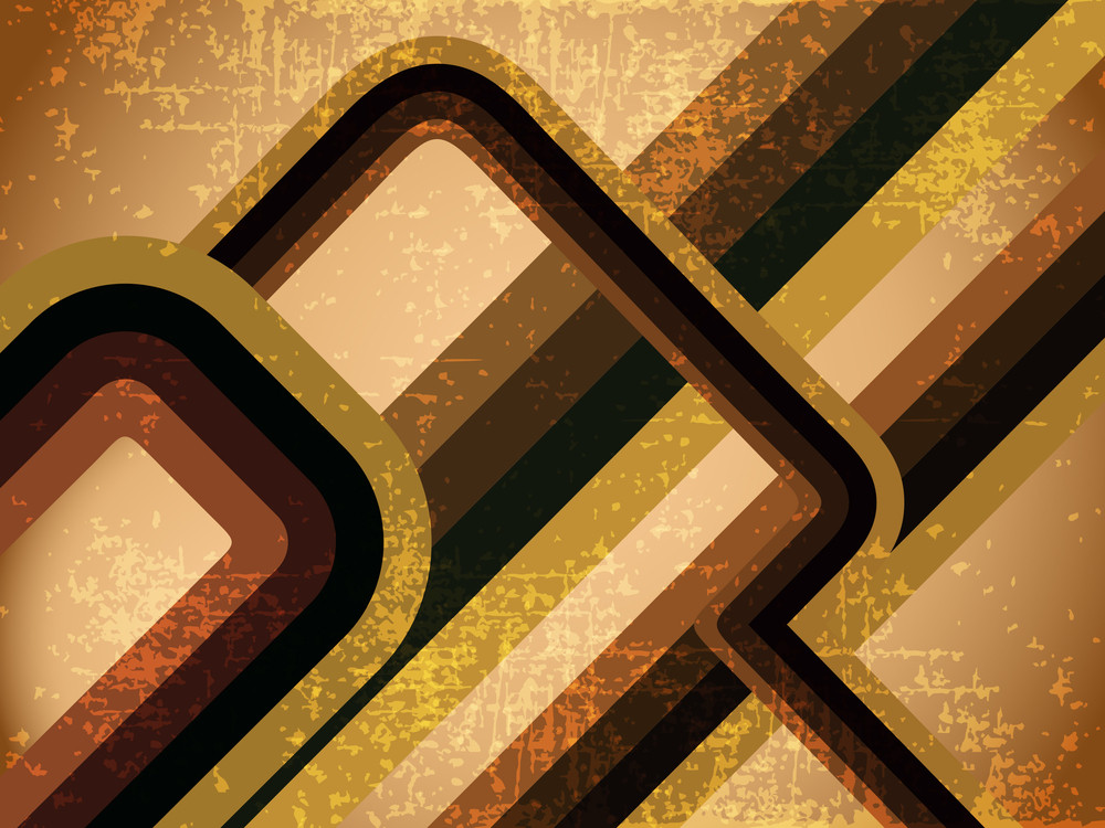 Grungy Retro-background With Colorful Wave Illustration. Eps10 Vector Illustration.