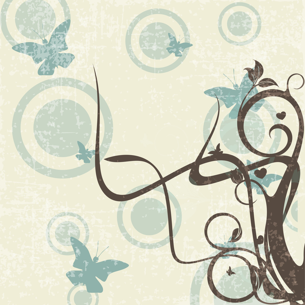 Grungy Retro Background With Floral Design And Butterflies.