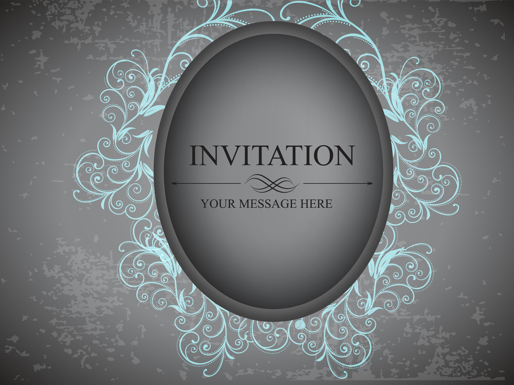 Grungy Retro Invitation Card In Grey Color With Floral Design And Copy Space For Your Message.