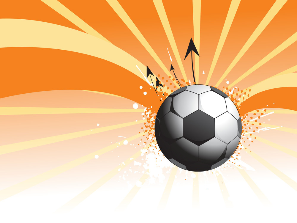 Grungy Soccer With Rays Background