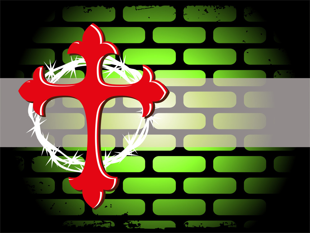 Grungy Wall Background With Cross