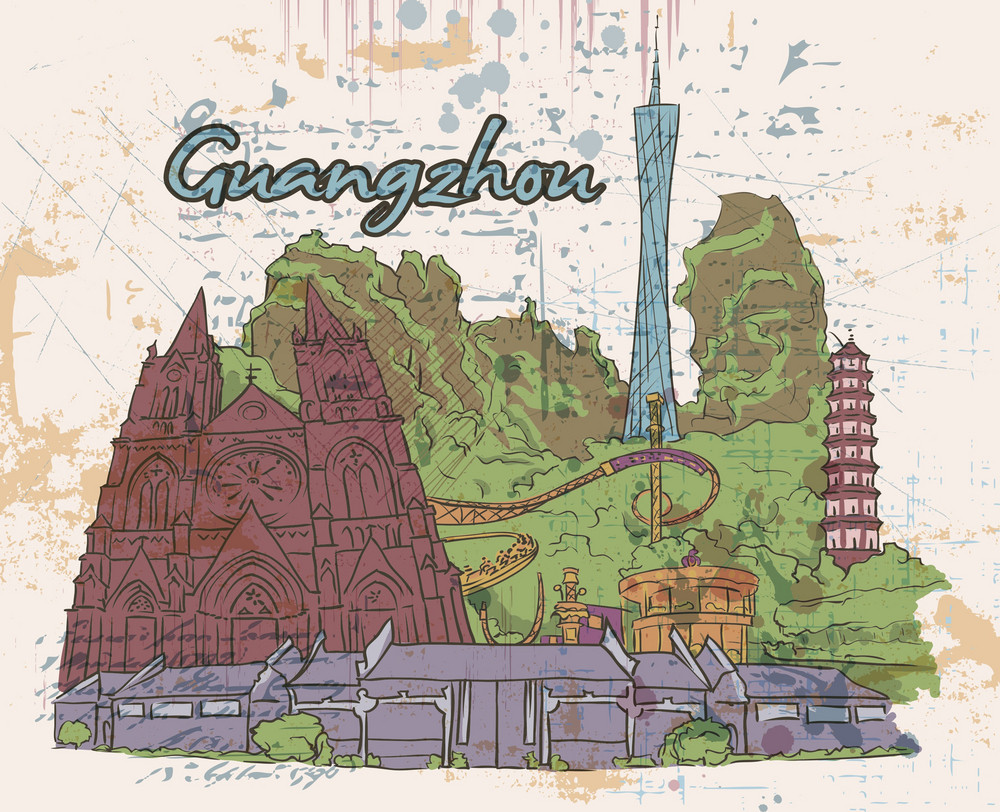 Guangzhou Doodles Vector Illustration