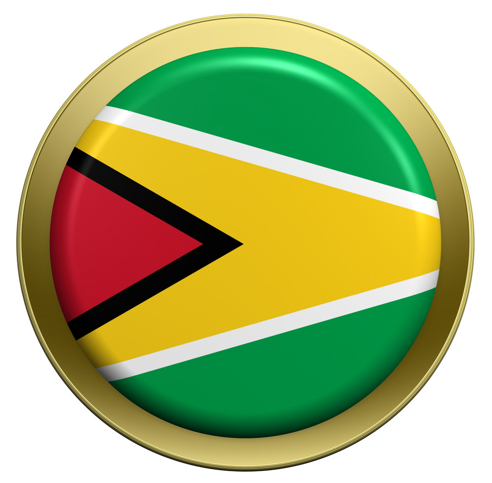 Guyana Flag On The Round Button Isolated On White.