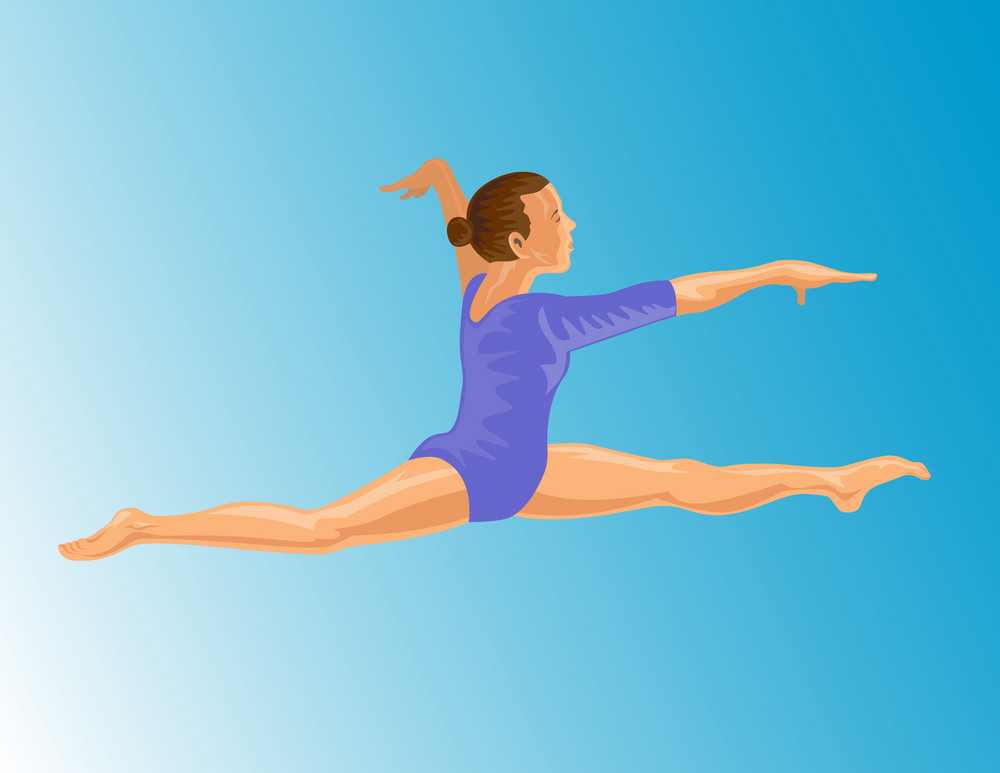 Gymnast Jumping Split