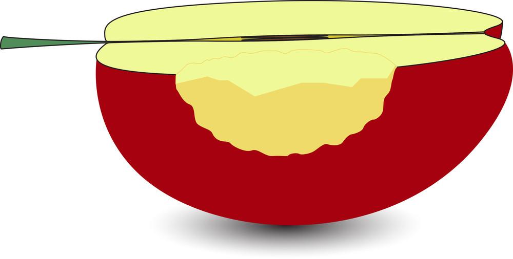 Half Eaten Apple Vector