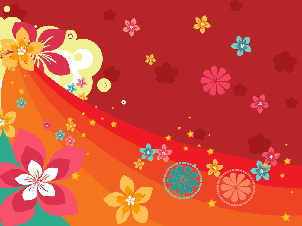 Halftone Background With Colorful Bloom