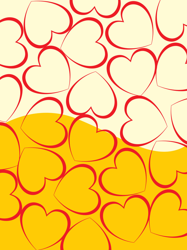 Halftone Background With Red Hearts