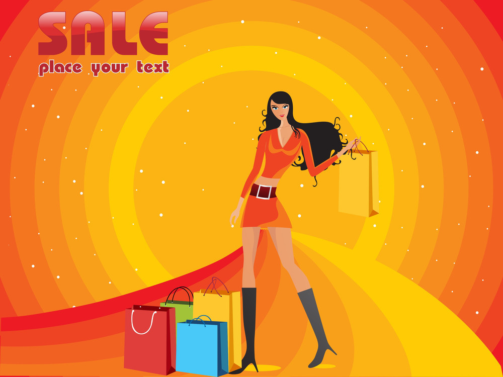 Halftone Background With Shopping Woman