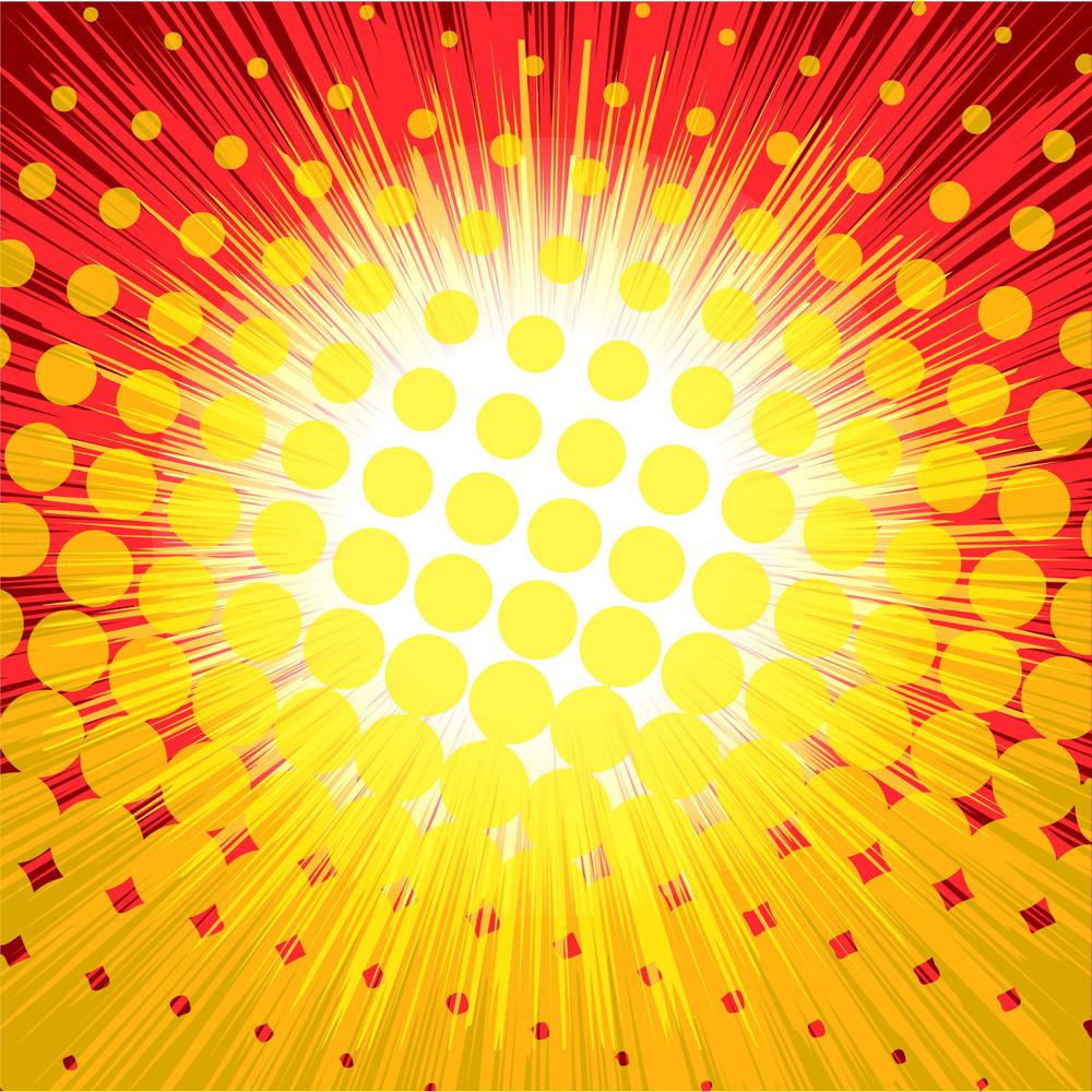 Halftone Colored Sunburst Background