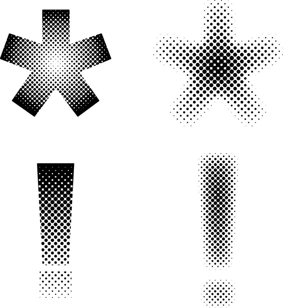 Halftone Stars And Symbols