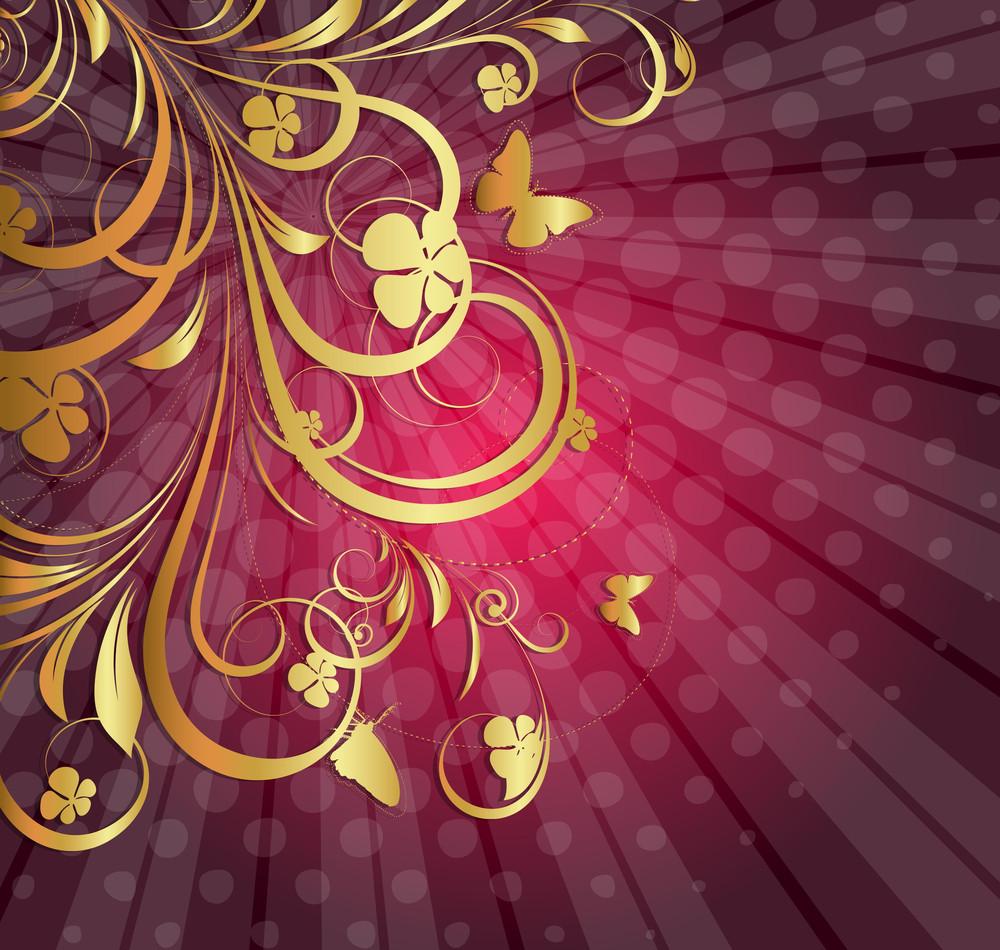 Halftone Sunburst Floral Design Background