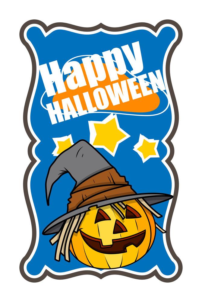 Halloweem Jack-o-lantern With Witch Hat