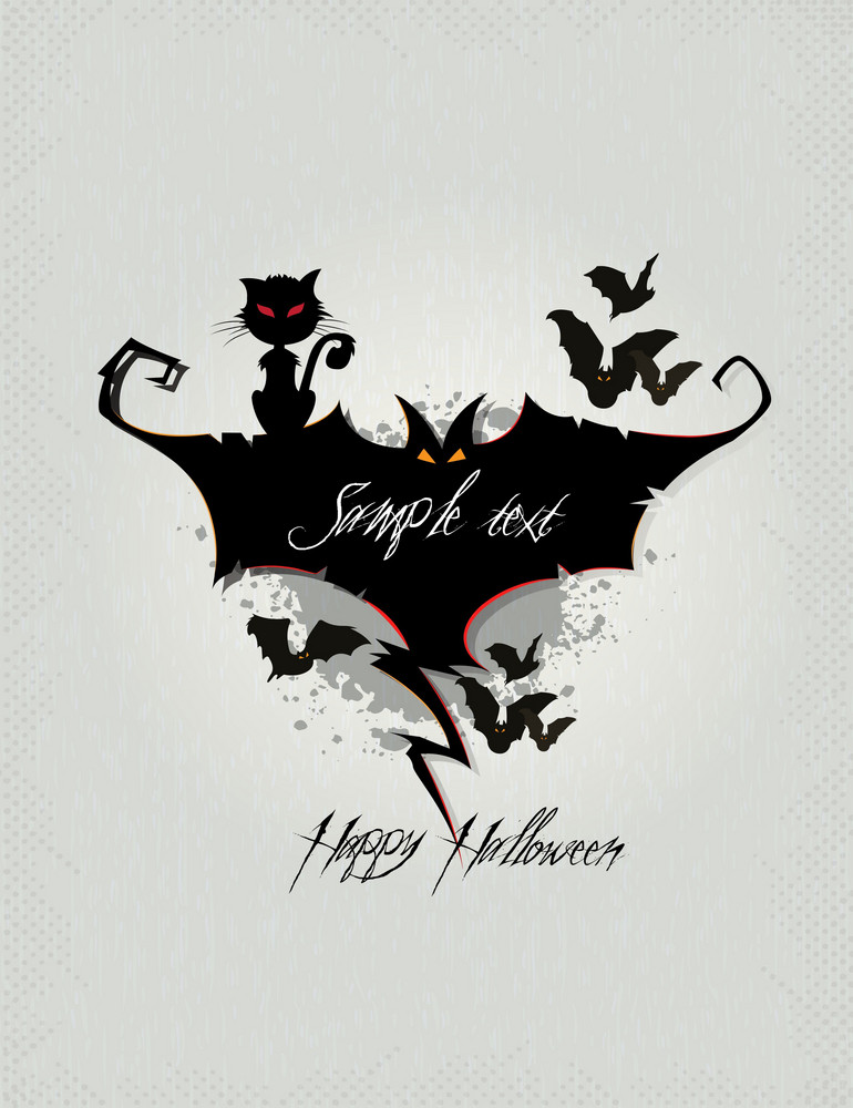 Halloween Background With Bats Vector Illustration