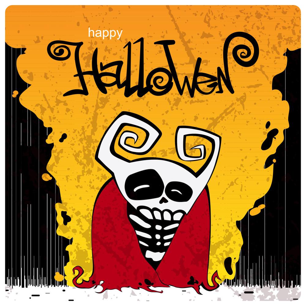 Halloween Background With Cartoon Monster.