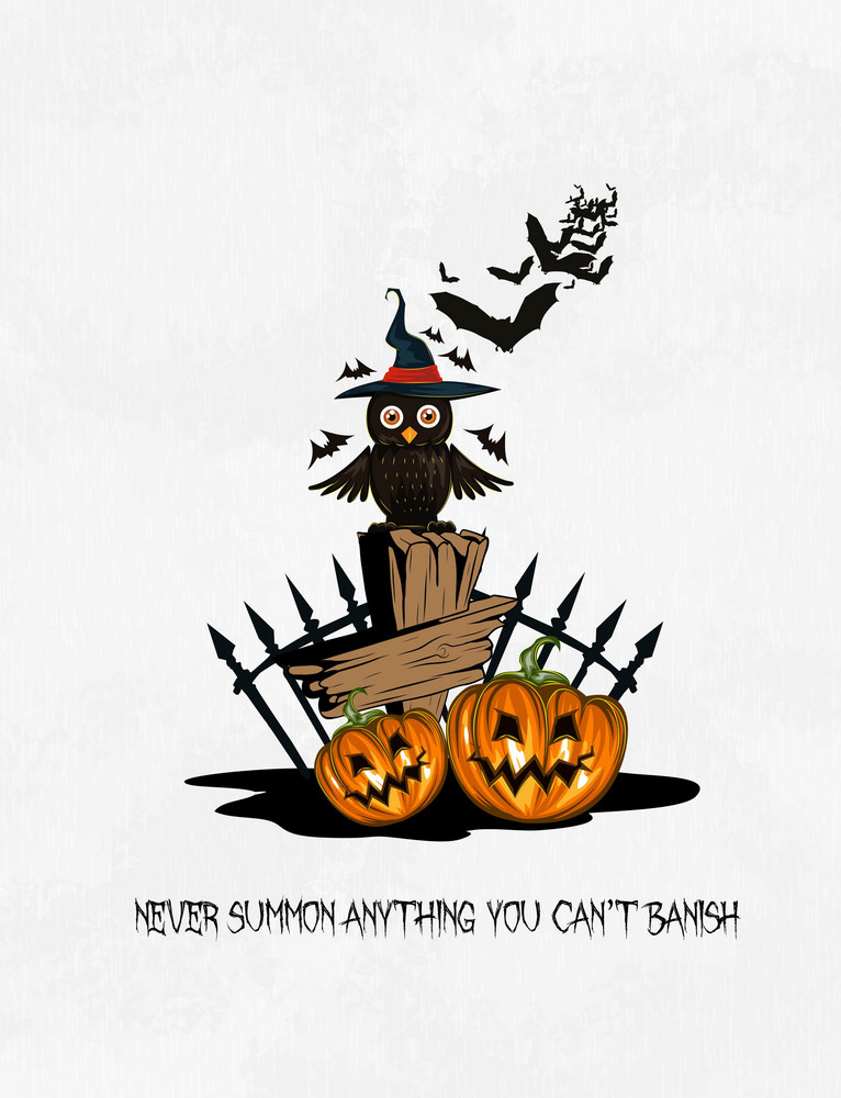 Halloween Background With Owl Vector Illustration