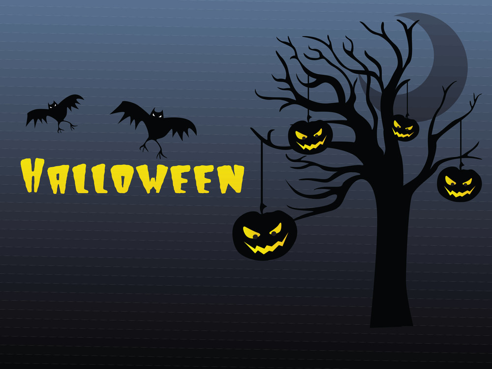 Halloween Background With Pumpkin Hanging On The Tree