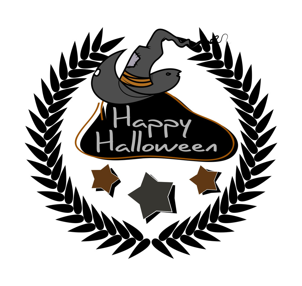 Halloween Banner With Witch Hat