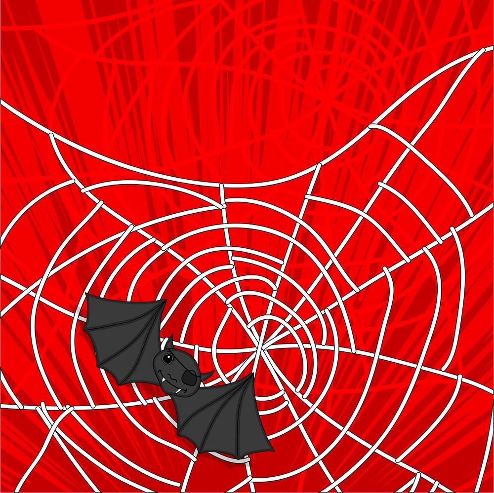 Halloween Bat Spider Vector Background