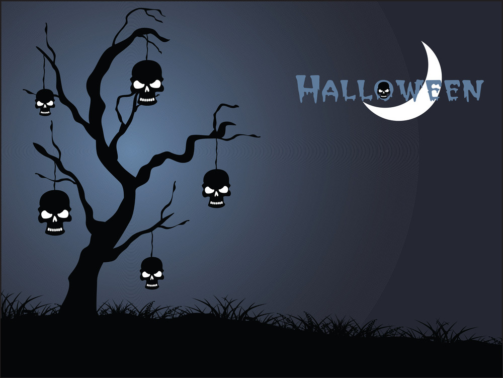 Halloween Blue Background With Hanging Skull On The Tree