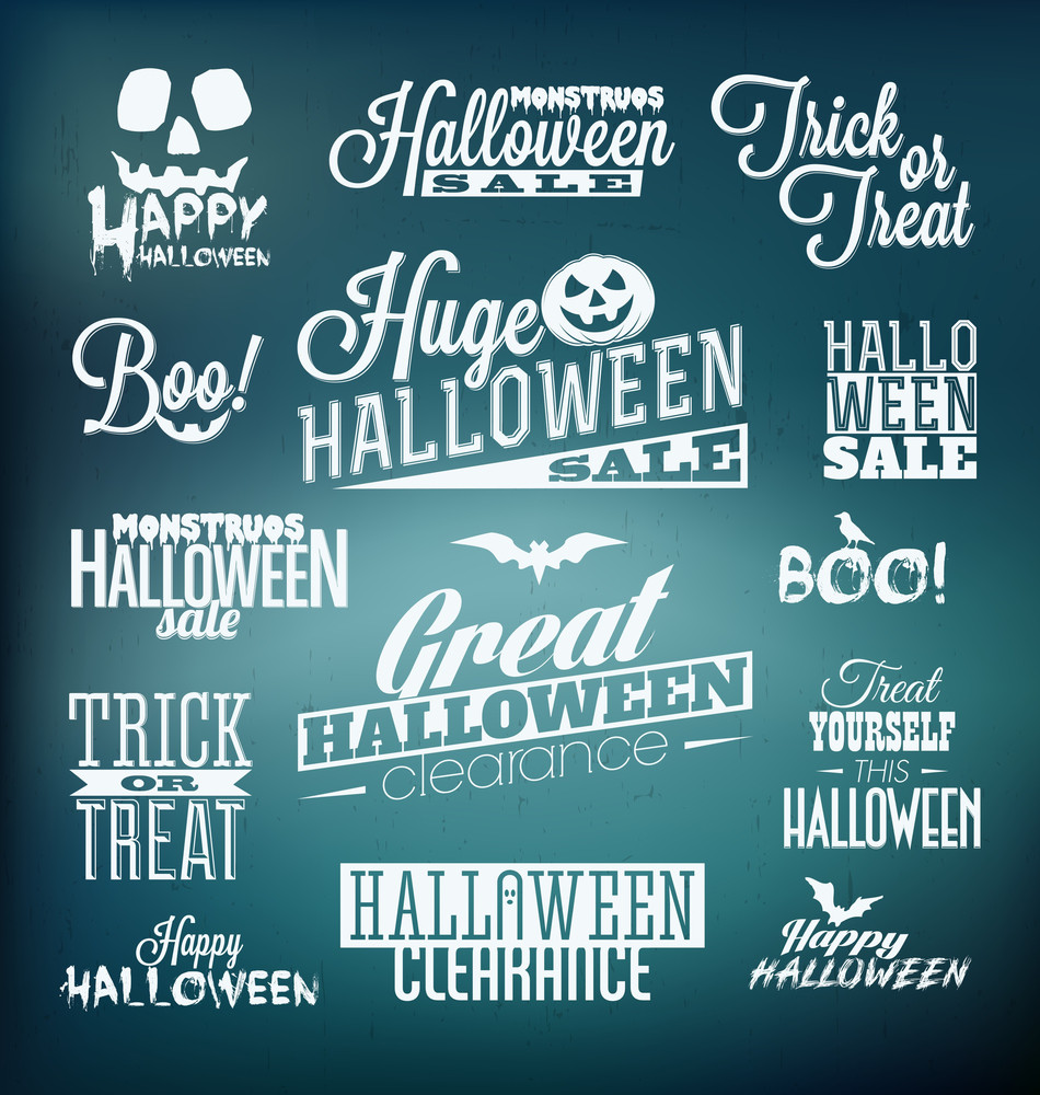 Halloween Calligraphic Designs | Retro Style Elements | Vintage Ornaments | Sale