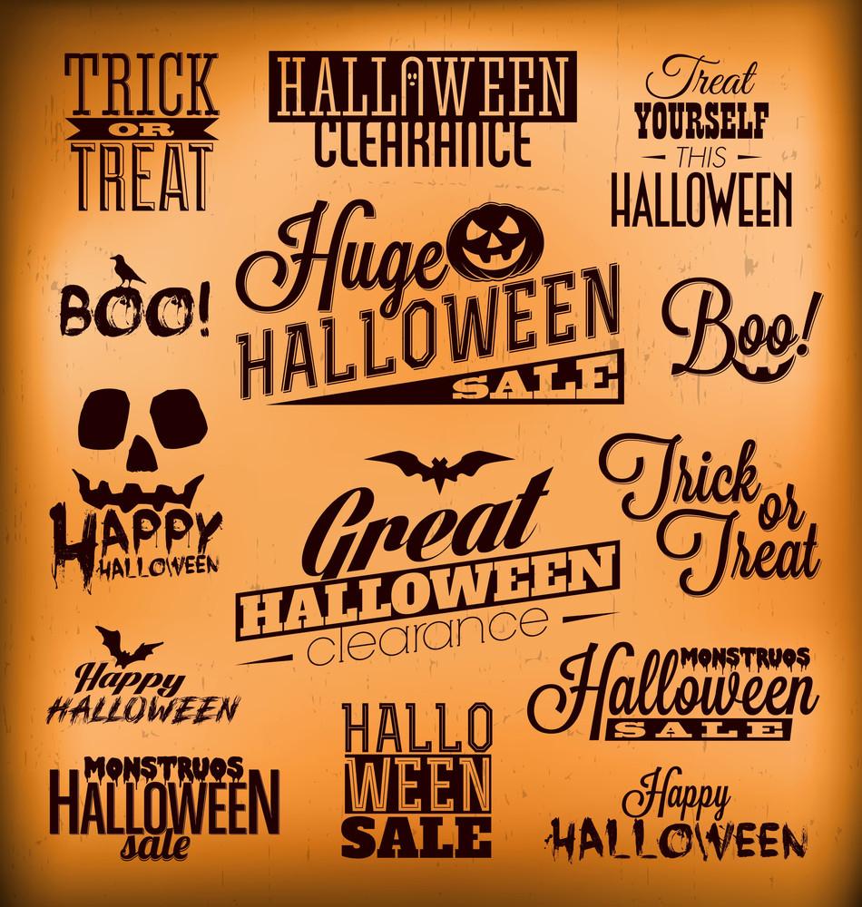 Halloween Calligraphic Designs | Retro Style Elements | Vintage Ornaments | Sale