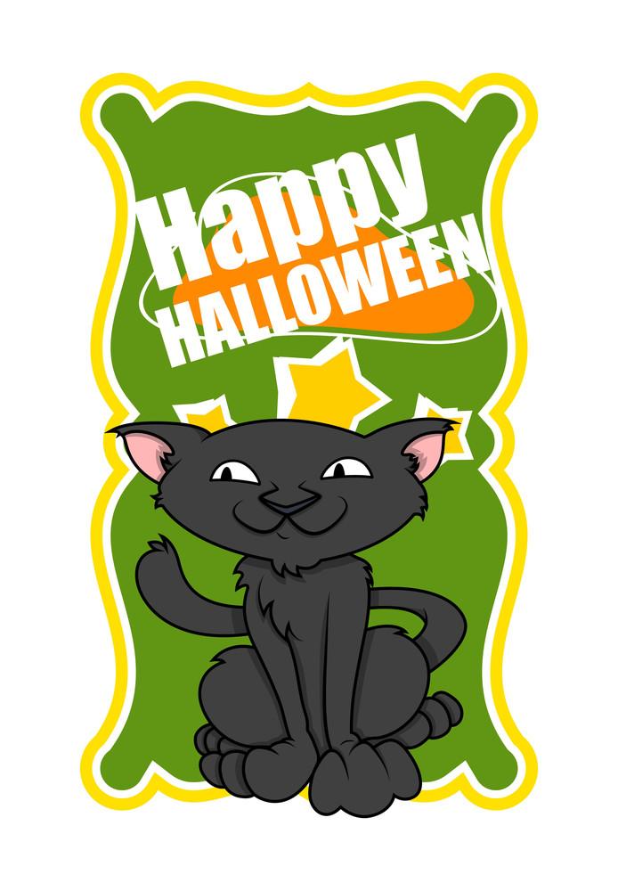 Halloween Cat Vector Banner