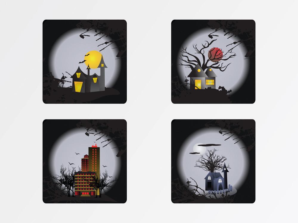 Halloween Cityscape Icons