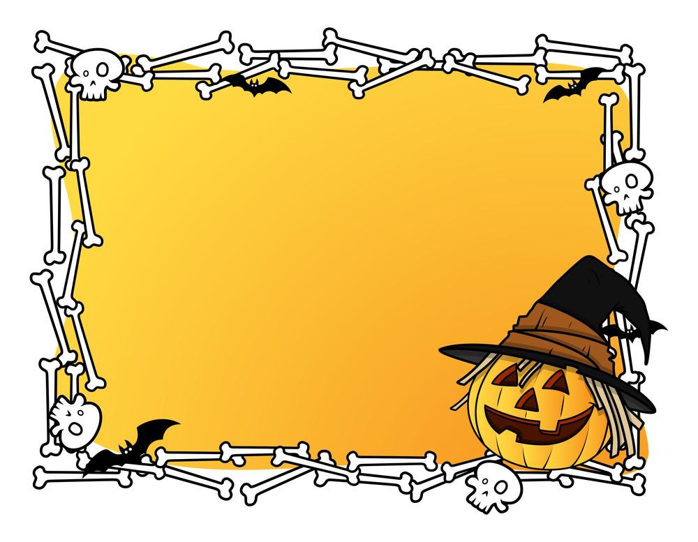 Halloween Frame With Jack-o-lantern Vector