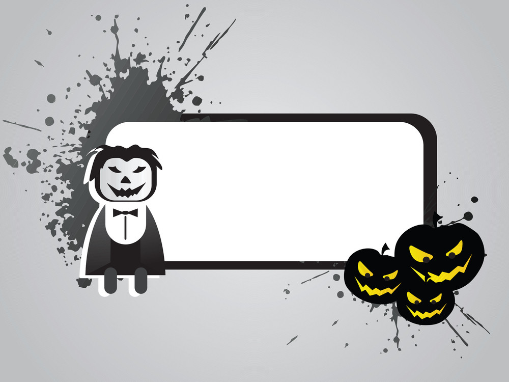 Halloween Frame With Pumpkin And Cartoon On The Grunge Background