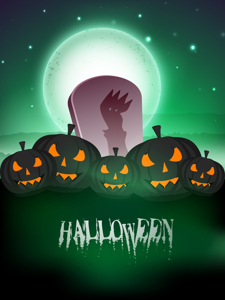 Halloween Full Moon Night Background With Grave And Scary Pumpkins.