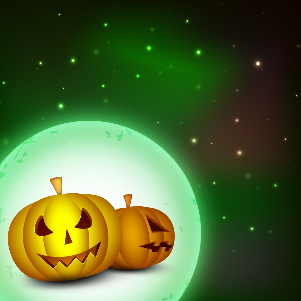 Halloween Full Moonlight Background With Scary Pumpkins And Flying Bats. Eps 10