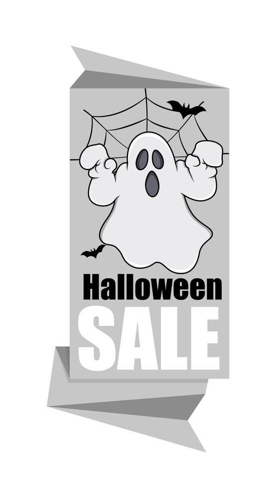 Halloween Ghost Sale Paper Banner