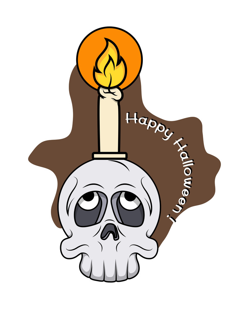 Halloween Ghost Skull With Candle Vector