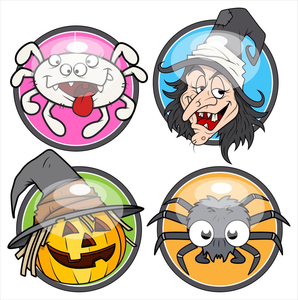 Halloween Glossy Vector Stickers
