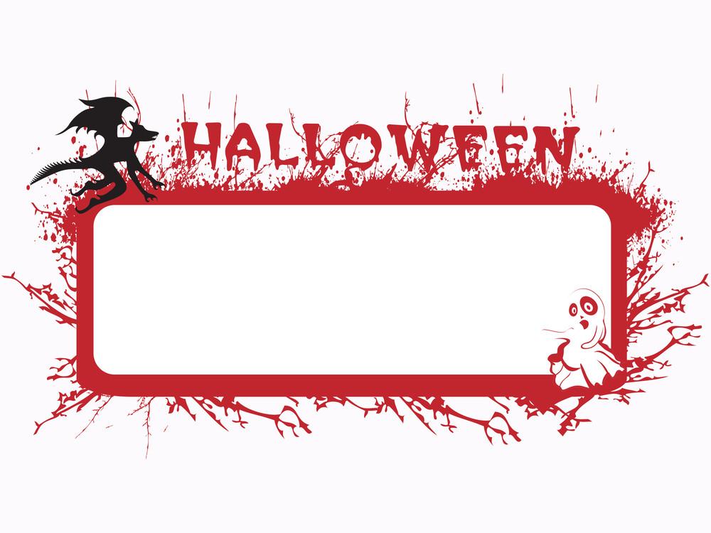 Halloween Grunge Frame In Red