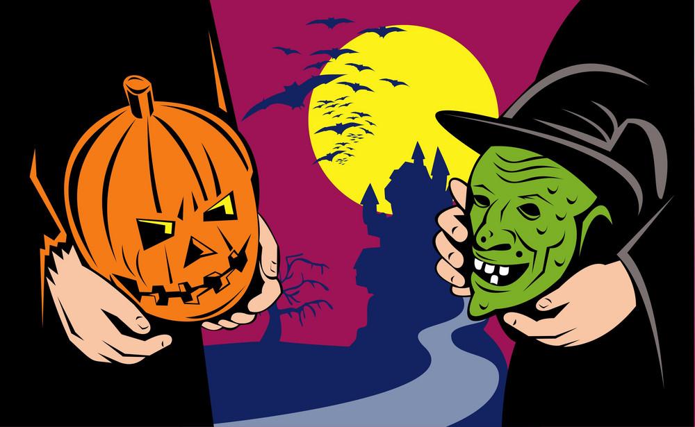 Halloween Mask Jack-o-lantern Witch Retro