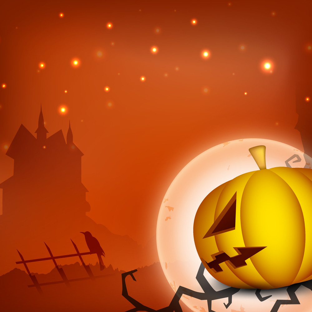 Halloween Moon Night Background Scary Pumpkin And Haunted House Silhouette.