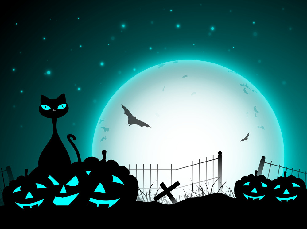 Halloween Night Background With Black Cat And Scary Pumpkins